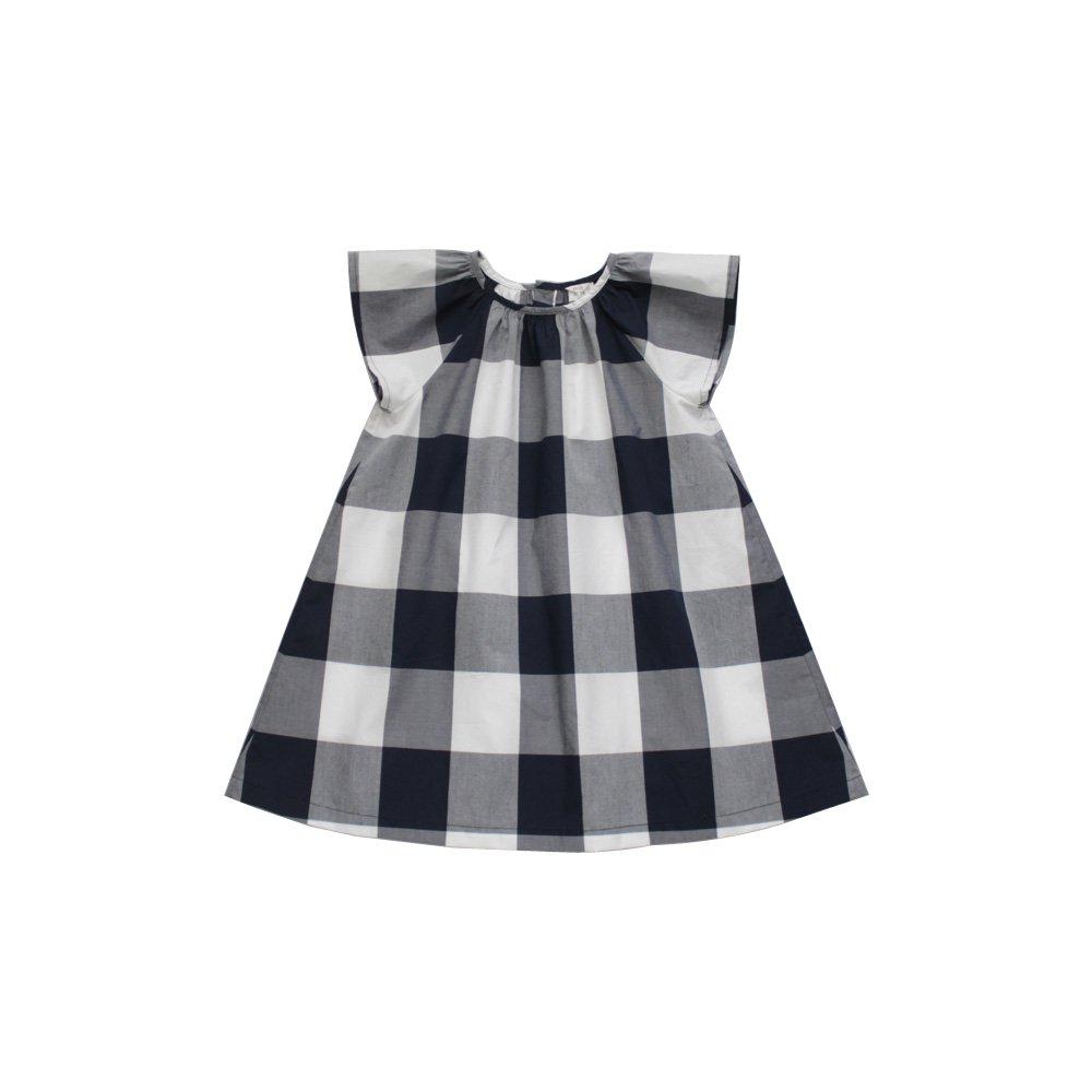 Block check dress (white)