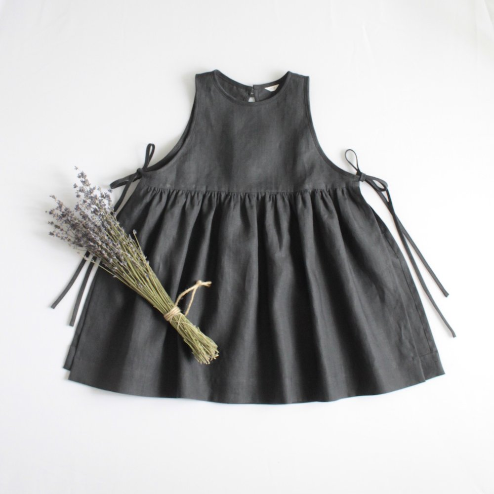 Side ribbon dress (Linen)