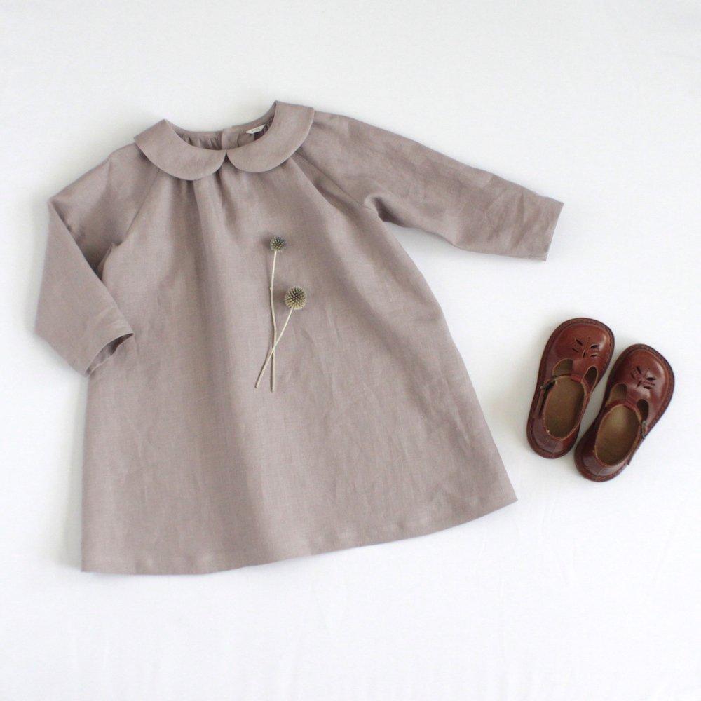 Round collar dress (Linen)