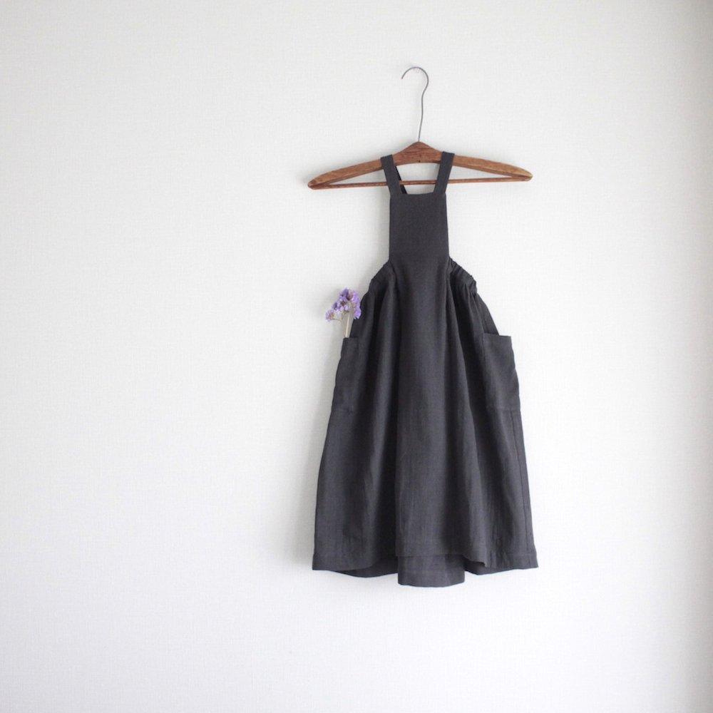 Double gauze apron skirt (charcoal)