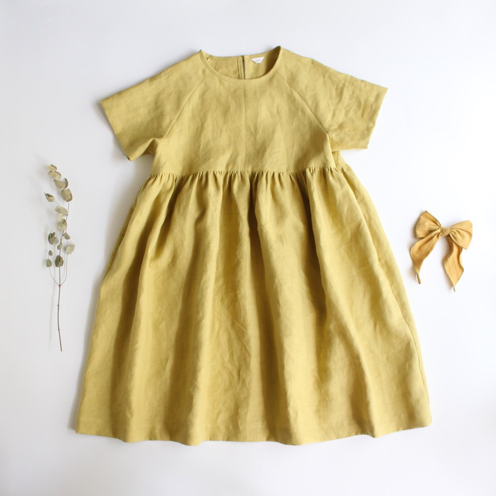 Linen raglan sleeve dress