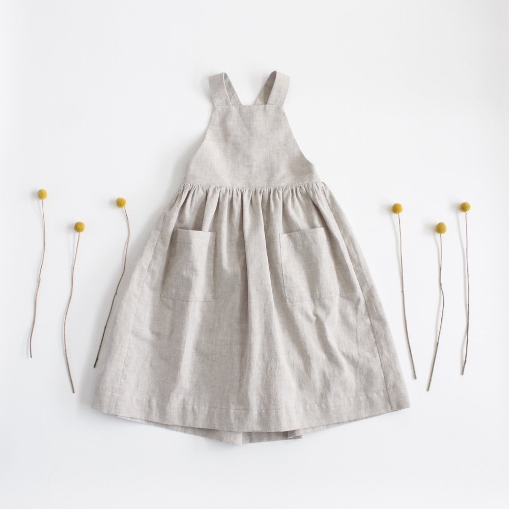Cotton linen apron dress