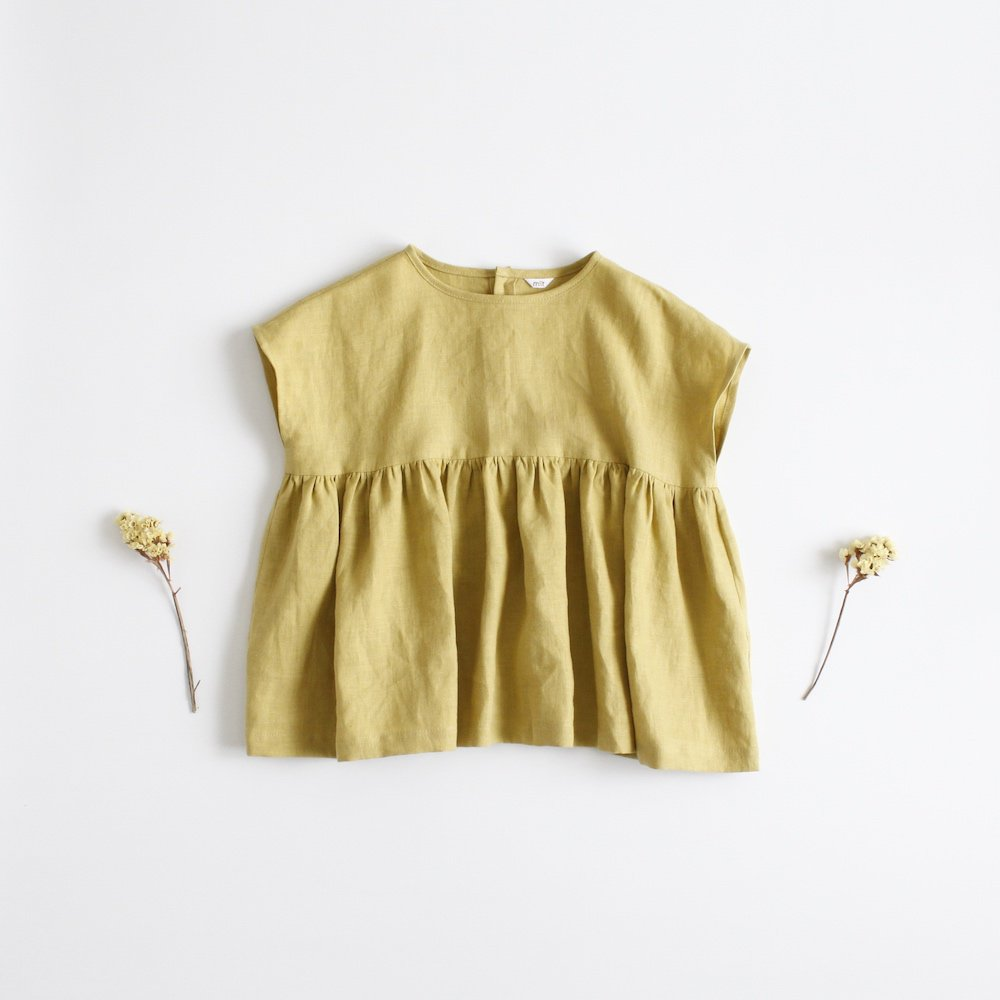 French sleeve gather blouse