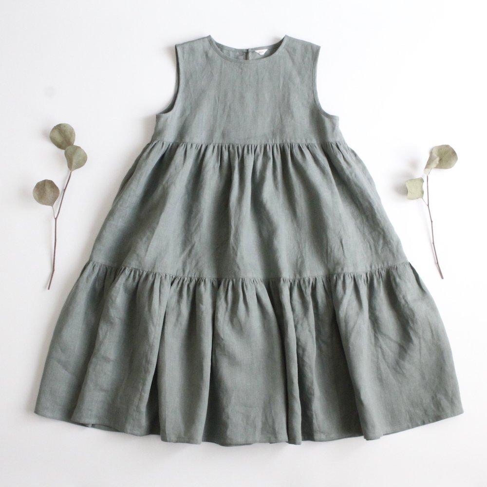 Linen tiered dress (130size)