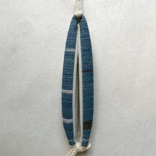 H.P.E.谷由起子 ラオスのシルク 藍格子綿絹 花緒