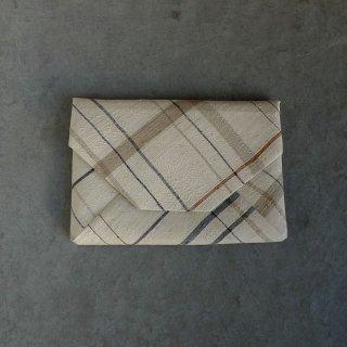 H.P.E.谷由起子 ラオスの布  数寄屋袋  格子