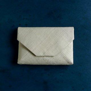 H.P.E.谷由起子 ラオスの布  数寄屋袋  極薄黄