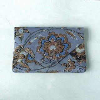 手描きジャワ更紗 Reisia 数寄屋袋 ブルーグレイ地大きい花