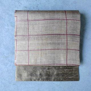 インド 木版染め [赤い線]  名古屋帯(仕立て上がり)