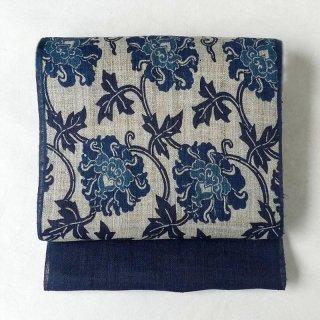 紅型  �保聡  藍型六通名古屋帯「牡丹唐草」