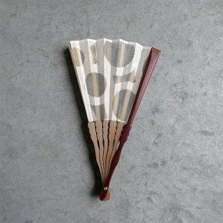 森田千晶 絹と和紙の扇子 7寸 水玉