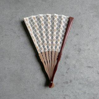 森田千晶 絹と和紙の扇子 7寸 網目