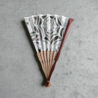 森田千晶 絹と和紙の扇子 7寸 蜘蛛の巣