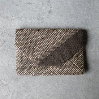 maki textile studio(インド手織り布)数寄屋袋 綿×タッサーシルク  チャコール