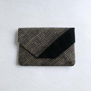 maki textile studio(インド手織り布)数寄屋袋 綿×タッサーシルク  黒