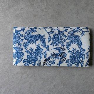 半幅帯 [正藍型染綿紗×インド手織り麻]