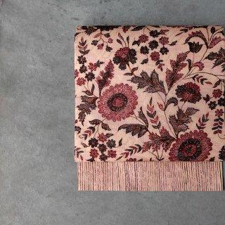 「Eddy An Batik 」   手描きジャワ更紗名古屋帯(赤い花)仕立て上がり