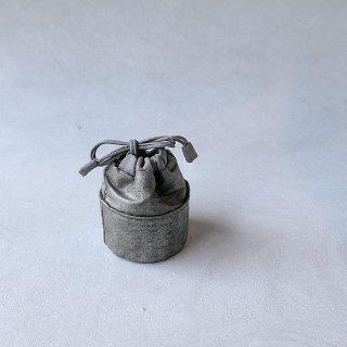 日本刺繍 露草 三原佳子 丸底巾着 小物入 箔×箔  G-3
