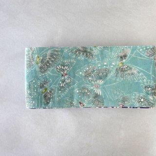 三橋工房 半幅帯「染まりの蝶×小紋柄吹き寄せ柄」