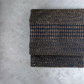 maki textile studio(インド手織り布)名古屋帯 仕立て上がり  菱 茶×紺
