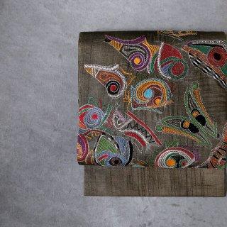インド 刺繍名古屋帯(仕立て上がり)[ art ]