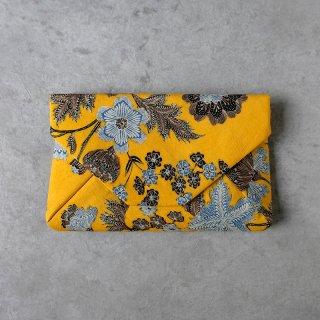 手描きジャワ更紗 Reisia 数寄屋袋 「プカロンガンの花」黄色