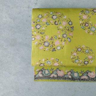 「Eddy An Batik 」×月日荘   手描きジャワ更紗名古屋帯(黄緑花の輪)
