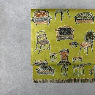 「Eddy An Batik 」×月日荘   手描きジャワ更紗名古屋帯(黄緑の椅子とネコ)