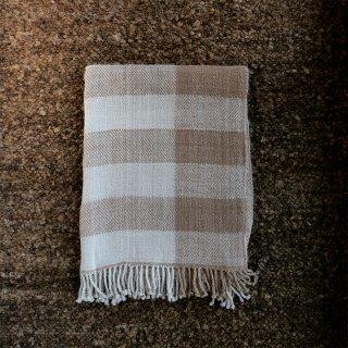 PUENTE 手紡ぎアルパカ手織りショール ホワイト/ベージュ