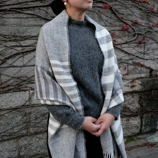 PUENTE 手紡ぎアルパカ手織りショール クリアグレー/ホワイト