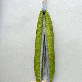 インド 木版染め 花緒 黄緑