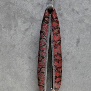 インド 木版染め 花緒 赤×墨