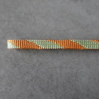 れん 二分半紐 細縞 斜め縞 オレンジ×ミント