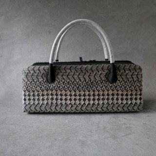 maki textile studio(インド手織り布) 利休バッグ 菱 (灰×紺)