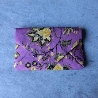 手描きジャワ更紗 Reisia 数寄屋袋 「紫野」紫地 裏無地