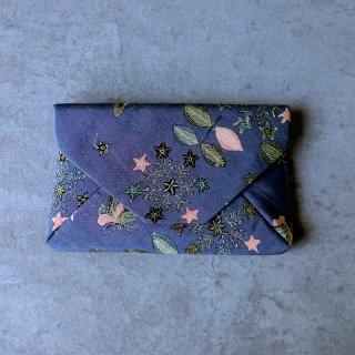 手描きジャワ更紗 Reisia 数寄屋袋 「蝶と遊ぶ」 灰紫 裏無地