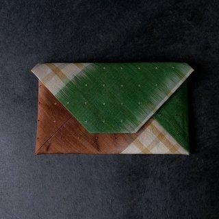 柳 崇 数寄屋袋  「花織染め分け裂 茶と緑 」