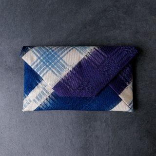柳 崇 数寄屋袋  「綾市松染め分け裂 紫と藍 」