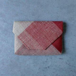 maki textile studio(インド手織り布)数寄屋袋 赤