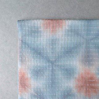 藤井絞り 雪花絞り帯揚げ 単衣・夏用 薄灰青×肉桂色