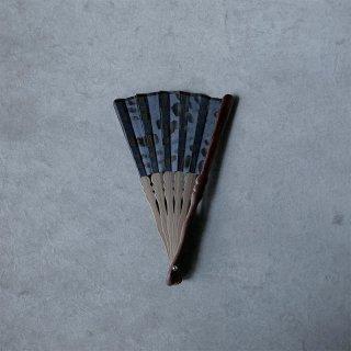 森田千晶 絹と和紙の扇子 6寸 市松