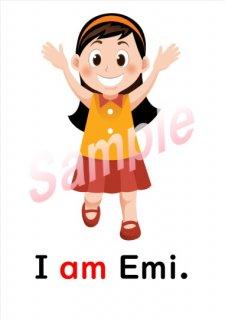 小学生子供の英語英会話フラッシュカード(A=Bの文、Be動詞の文) 6枚ダウンロード
