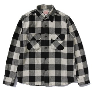 HEAVY FLANNEL SHIRTS (WHITE×BLACK)/BIG MIKE ビッグマイク