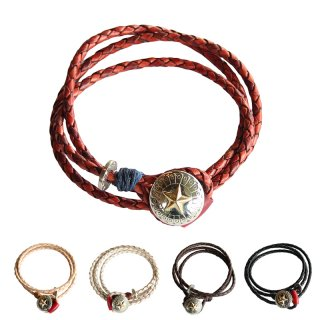 <img class='new_mark_img1' src='https://img.shop-pro.jp/img/new/icons13.gif' style='border:none;display:inline;margin:0px;padding:0px;width:auto;' />LEATHER CONCHO BRACELET (3重巻き)/AKASHIC TREE アカシックツリー