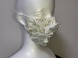 ストーンデコレーションマスク ホワイト 立体花 156698976