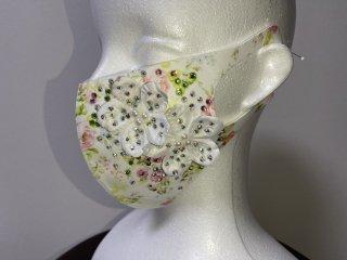 ストーンデコレーションマスク 白・花柄 156719311