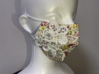 ストーンデコレーションマスク 白・花柄 156719520