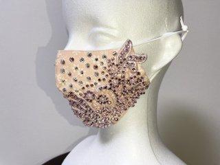 ストーンデコレーションマスク ピンク 156719733