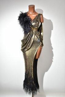 スポンサードレス タカギルナ選手着用 ラテンドレス LO ゴールド黒羽 Sサイズ 160708888