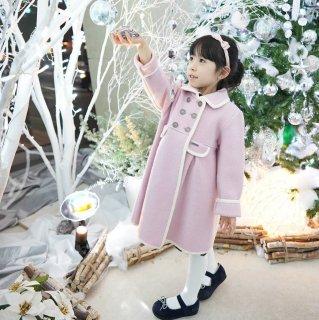 【10月入荷済】スペインMarae♪ピンク×ホワイトパイピングコート♪メリノウール100%